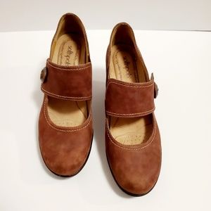 Softspots Brown Suede Mary Jane  Shoes